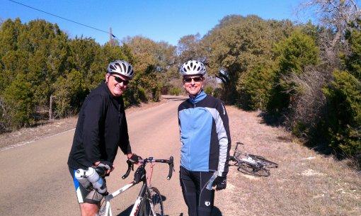 Jim and Chas cycling near Joppa, TX