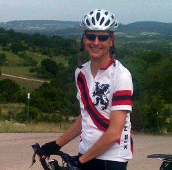Chas biking to Burnet