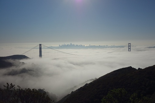 A Fogged In Golden Gate Bridge from the Marin Headlands